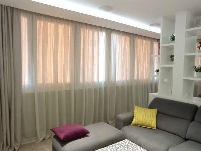 visillo y cortina salon pinza